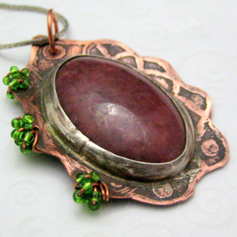 Handmade Metal and Stone Copper Pendant Etched and Wire Wrapped Maroon - product images  of