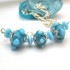 Handmade,Necklace,With,Artisan,Glass,Lampwork,Beads,Turquoise,Jewelry,handmade_necklace,sky_blue,tasrete_team,fire_divas_team,dot_beads,silver_chain,fun,date_night,girls_night_out,glass_necklace,lampwork_necklace,silver_plated_chain,lampwork_glass_beads,cats_eye_glass_beads