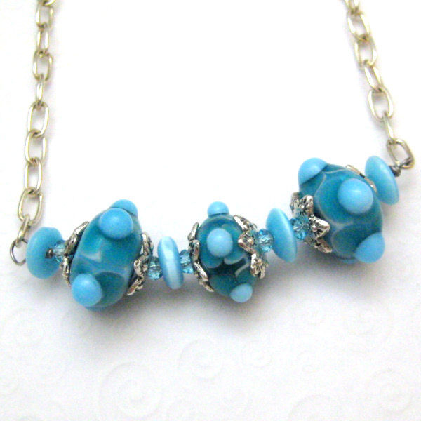 Handmade Necklace With Artisan Glass Lampwork Glass Beads Turquoise - product images  of
