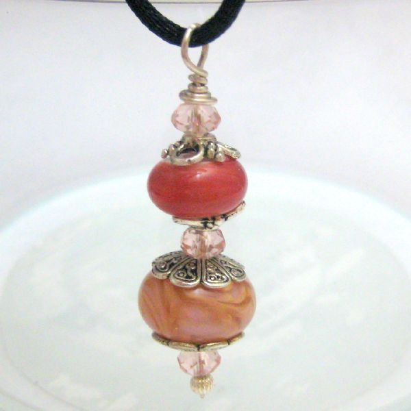 Pink and Gold Handmade Lampwork Glass Bead Pendant - product images  of