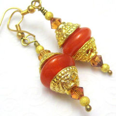 Handmade,Lampwork,Glass,Earrings,Gold,and,Tangerine,Sparkle,Jewelry,handmade_earrings,lampwork_glass,tangerine_orange,tasrete_team,fire_divas_team,dangle,gold,formal,elegant,sophisticated,dine_out,swarovski_crystals,gold_plated_findings