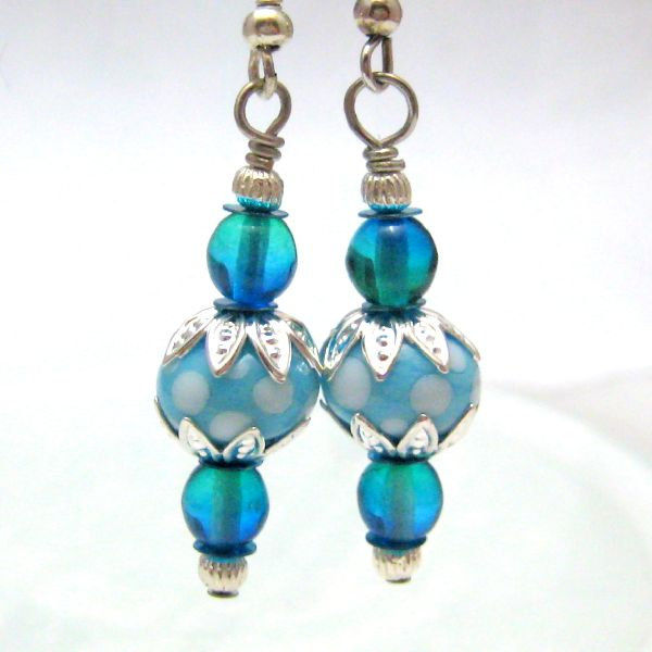 Blue Green Silver Handmade Lampwork Glass Earrings - product images  of