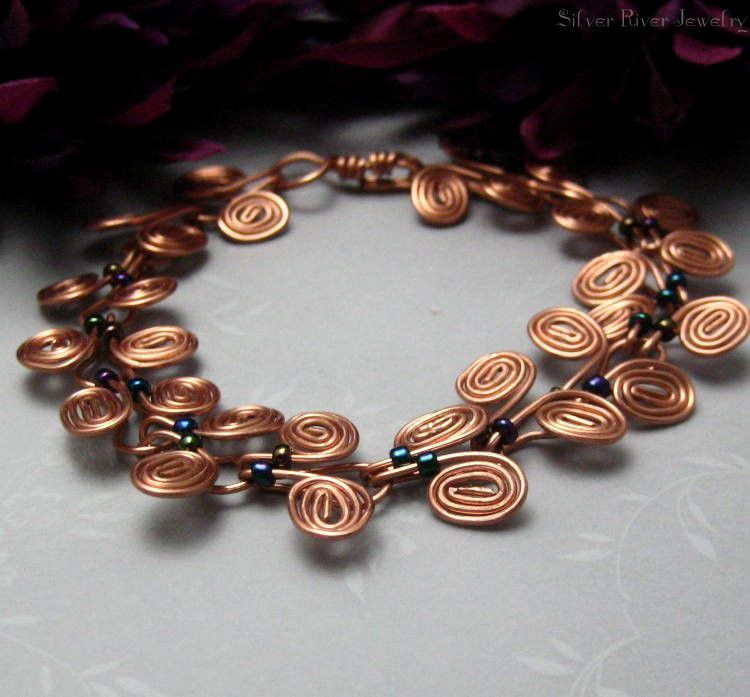 Copper Egyptian Coil Bracelet with Dark Metallic Seed Beads - product images  of