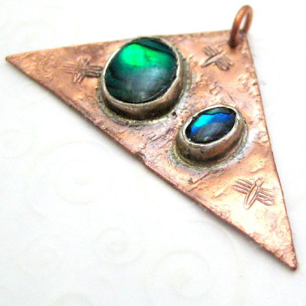 Blue Green Mother of Pearl Dragonfly Copper Triangle Pendant - product images  of