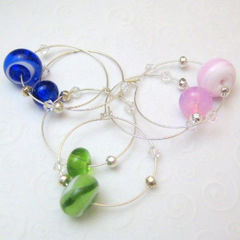 Handmade,Lampwork,Glass,And,Silver,Wine,Charms,Blue,Green,Pink,Housewares,Kitchen,Wine_Charm,handmade_wine_charms,lampwork_glass,silver,blue,pink,green,striped,tartteam,beadsteam,firedivasteam,party,entertain,handmade_lampwork_glass,silver_plated_findings