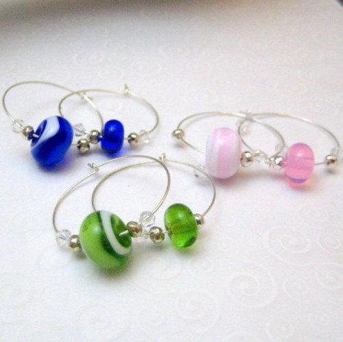 Handmade Lampwork Glass And Silver Wine Charms Blue Green Pink - product images  of