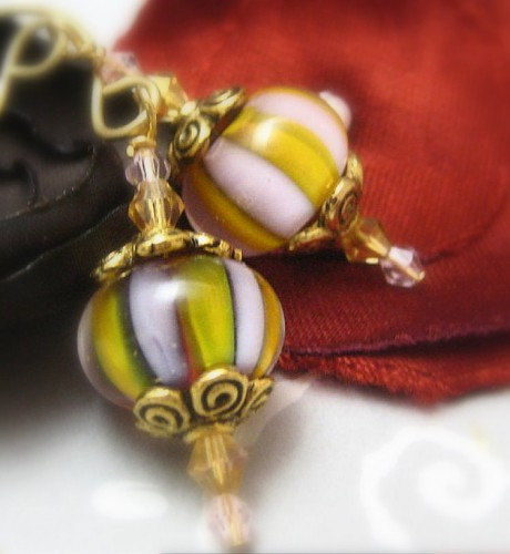Artisan Lampwork Glass Earrings Gold, Lilac, Swarovski Crystals, Brass - product images  of