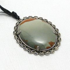 Olive,Green,and,Sienna,Brown,Picture,Jasper,Handmade,Rustic,Pendant,Jewelry,Stone,necklace,castteam,picture_jasper,cabochon,one_of_a_kind_ooak,green,rust,hand_crafted,hand_made,silverriverjewelry,unique,semi_precious,olive,picture_jasper_cabochon,silver_setting