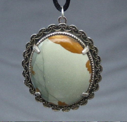 Olive Green and Sienna Brown Picture Jasper Handmade Rustic Pendant - product images  of