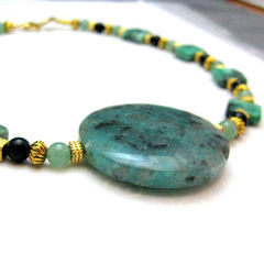 Gold,Green,Black,Handmade,Necklace,Choker,Jasper,Onyx,Turquoise,Jewelry,Stone,handmade_necklace,jasper,black_onyx,green_serpentine,green_turquoise,choker,toggle_clasp,beadsteam,silverriverjewelry,formal,earthy,elemental,turquoise,serpentine,gold_plated_findings