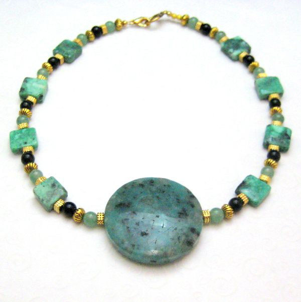 Gold Green Black Handmade Necklace Choker Jasper Onyx Turquoise - product images  of