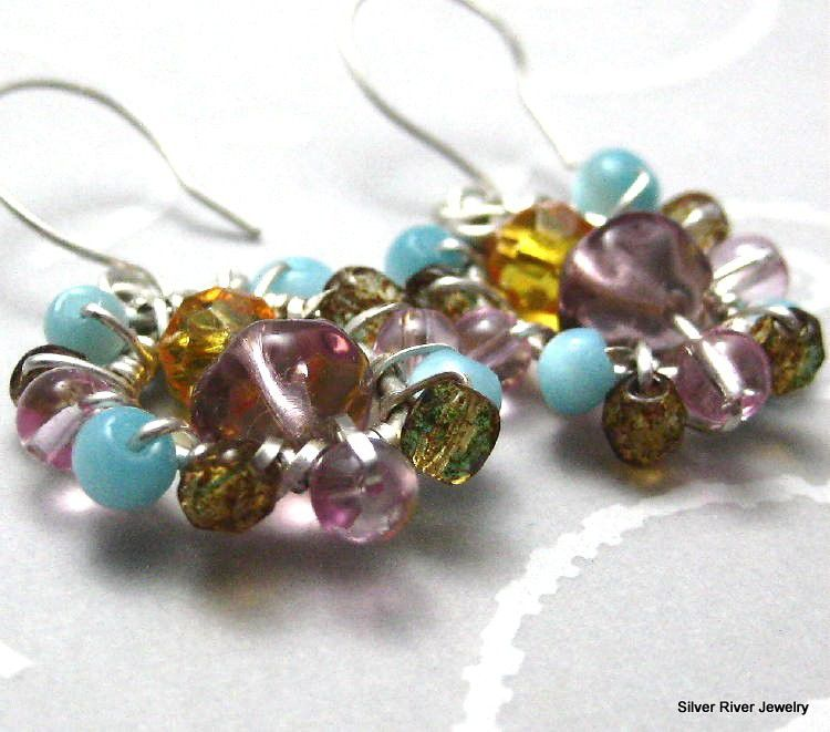 Sterling Silver Wire Wrapped Multi Colored  Earrings - product images  of