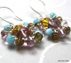 Sterling,Silver,Wire,Wrapped,Multi,Colored,Earrings,Jewelry,Wire_Wrapped,sterling_silver,glass_beads,purple,golden_yellow,blue_cats_eye,handmade_earrings,sassy,bright,dangle,wire_wrapped,beadsteam,formal,night_out