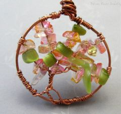 Beginning,of,Fall,Copper,Wire,Wrapped,Tree,Life,Green,Pink,Gold,Jewelry,Pendant,Wire_Wrapped,handmade_copper,tree_of_life,wire_wrapped,golden_pink,green,fall,silver_river_jewelry,glass_chips,beadsteam,tart,organic,glass_chip_beads,copper_wire