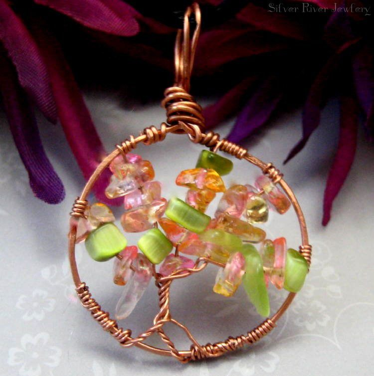 Beginning of Fall Copper Wire Wrapped Tree of Life Green Pink Gold - product images  of