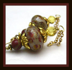 Handmade,Victorian,Style,Lampwork,Glass,Post,Earrings,Red,and,Yellow,Jewelry,handamade_earrings,handmade_lampwork,maroon_red,gold,romantic,victorian,regal,elegant,formal,dressy,beadsteam,fire_divas_team,silverriverjewelry,handmade_lampwork_glass_beads,gold_plated_findings,red_jasper_beads
