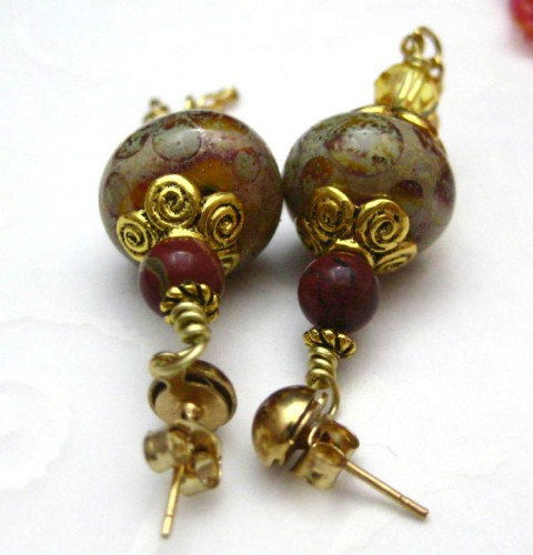 Handmade Victorian Style Lampwork Glass Post Earrings Red and Yellow - product images  of