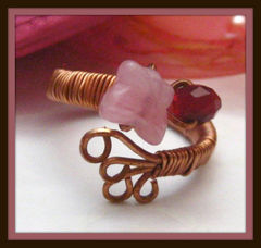 Wire,Wrapped,Handmade,Adjustable,Copper,Ring,Pink,Butterfly,Jewelry,handmade_ring,wire_wrapped_ring,pink,red,romantic,copper,butterfly,beadsteam,prom,whimsical,whimsy,fantasy,cooper,stone_beads,glass_beads