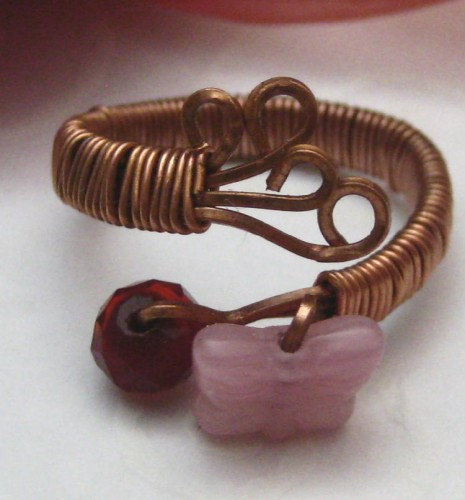 Wire Wrapped Handmade Adjustable Copper Ring Pink Butterfly - product images  of