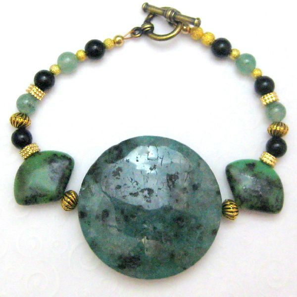 Green and Gold Handmade Bracelet Jasper Onyx Egyptian Turquoise - product images  of