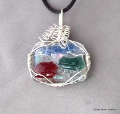 Sterling,Silver,Wire,Wrapped,Fused,Glass,Pendant,Abstract,Jewelry,Wire_Wrapped,fused_glass,handmade_art,red,blue,green,abstract,wire_wrapped,sterling_silver,textured_glass,silverriverjewelry,beadsteam,sterling_silver_wire