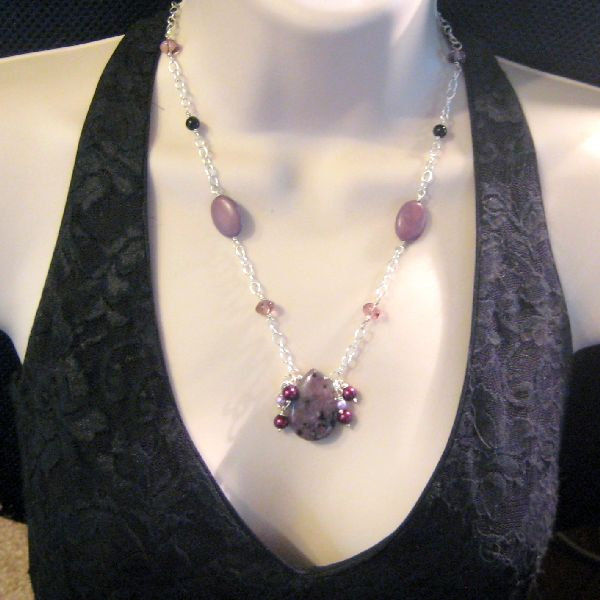 Handmade Dalmation Jasper Pearl and Chain Necklace Purple Shadows - product images  of