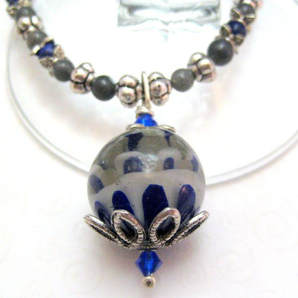 Handmade Beaded Necklace Lampwork Labrodorite and Lapis Blue and Grey - product images  of