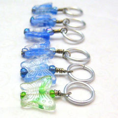 Blue,and,Green,Handmade,Butterfly,Stitchmarkers,Knit,Crochet,Knitting,Knitting_Supplies,Stitch_Markers,stitchmarkers,pattern_marker,placemarker,butterflies,blue,green,tasrete_team,stitch_marker,knit,crochet,glass_butterfly_beads,aluminum_jump_rings,silver_plated_wire