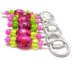 Lime,Green,and,Fuschia,Pink,Handmade,Stitch,Markers,Knit,Crochet,Supplies,Stitch_Markers,knit,crochet,stitch_markers,pattern_markers,place_markers,handmade,hot_pink,fuschia,lime_green,silver,tasrete_team,glass_beads,silver_plated_wire,aluminum_jump_rings
