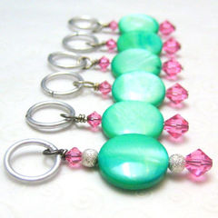 Light,Seafoam,Green,and,Pink,Handmade,Stitch,Markers,Knit,Crochet,Knitting,Knitting_Supplies,Stitch_Markers,stitch_markers,pattern_markers,place_markers,knit,crochet,handmade,pearl_coins,seafoam_green,pink,silver,tasrete_team,beadsteam,dyed_peal_coins,pink_swarovski_crystals,aluminum_jump_rings,silver_plated_findings