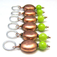 Rustic,Handmade,Copper,and,Lime,Green,Stitchmarkers,Knit,Crochet,Supplies,Stitch_Markers,stitch_markers,pattern_markers,place_markets,handmade,knit,crochet,copper,lime_green,tasrete_team,rustic,earthy,copper_beads,glass_beads,aluminum_jump_rings