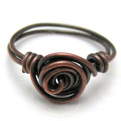 Copper,Single,Spiral,Handmade,Wire,Wrapped,Ring,Size,8,R,1001