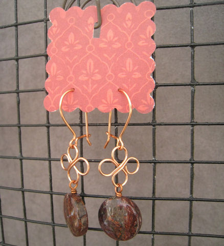 Womens,Copper,Earrings,,Pietersite,,Wire,Cloverleaf,Earrings, Copper, handmade, Fall, Warm, Czech Glass, wire-wrapped