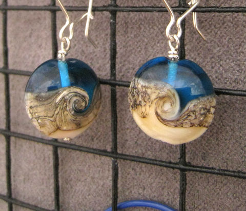 Women's,Earrings,,Argentium,Sterling,Silver,,Ocean,wave,Lampwork,Glass,Beads,,Womens,Everyday,jewelry,Dramatic earrings, Argentium_Silver,lampwork glass,nickel_free, Everyday jewelry, women's jewelry, Summer jewelry, Made in USA