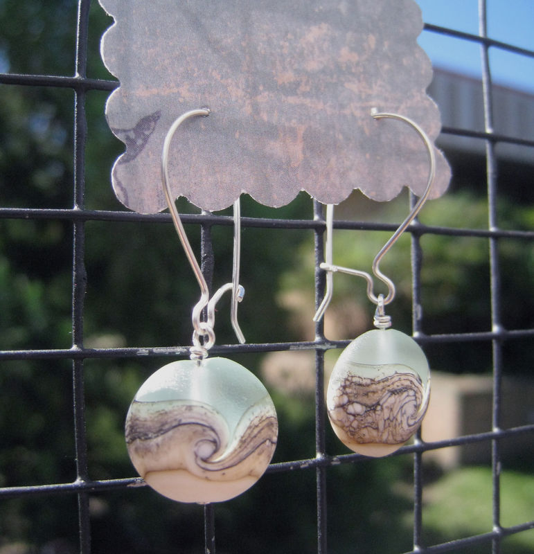 Women's Earrings, Argentium Sterling Silver, Beach Wave Lampwork Glass Beads, Womens Everyday jewelry - product images  of