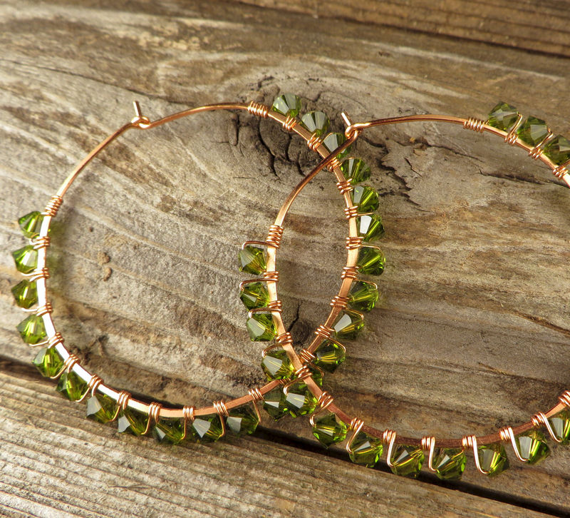 Copper Hoop Earrings, Dark Green Swarovski Crystals, Womens Jewelry, - product images  of