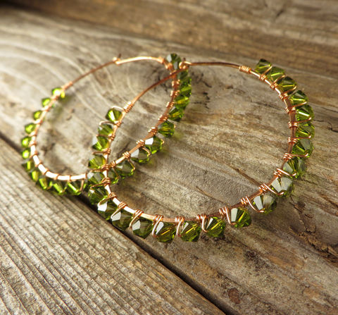 Copper,Hoop,Earrings,,Dark,Green,Swarovski,Crystals,,Womens,Jewelry,,Jewelry,Earrings,Beaded,Hoop_Earrings,Swarovski_crystals,Bold,Holiday,birthday,hoop,statement,winter,women,Swarovski_Crystals