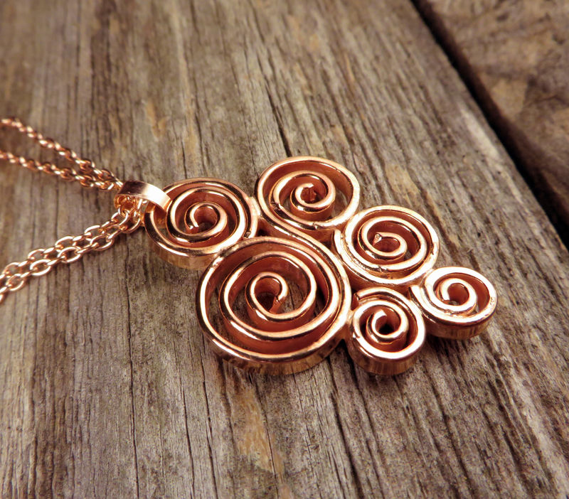 Spiral Pendant, Copper, Everyday Jewelry - product images  of