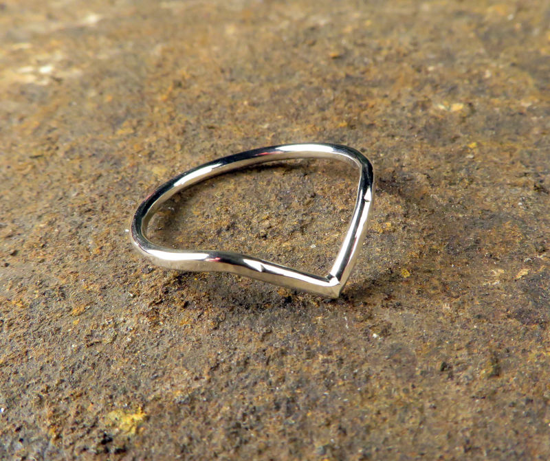 Chevron Ring, Argentium Sterling Silver, Women's Everyday Jewelry - product images  of
