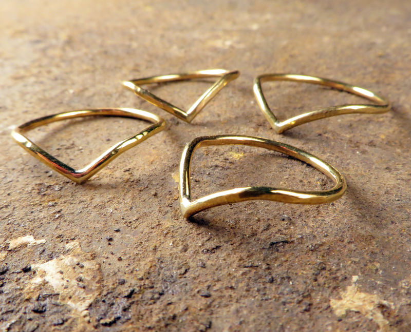 Chevron Ring, Brass, Women's Everyday Jewelry - product images  of