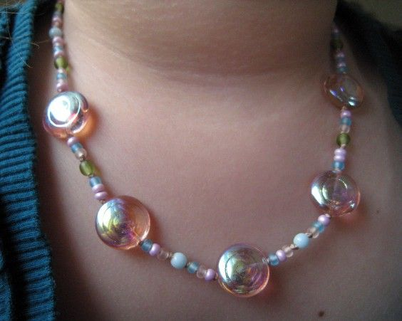 Kids Beaded Necklace, Pink Swirls, Czech Glass, Childrens Jewelry, Magnetic Clasp - product images  of
