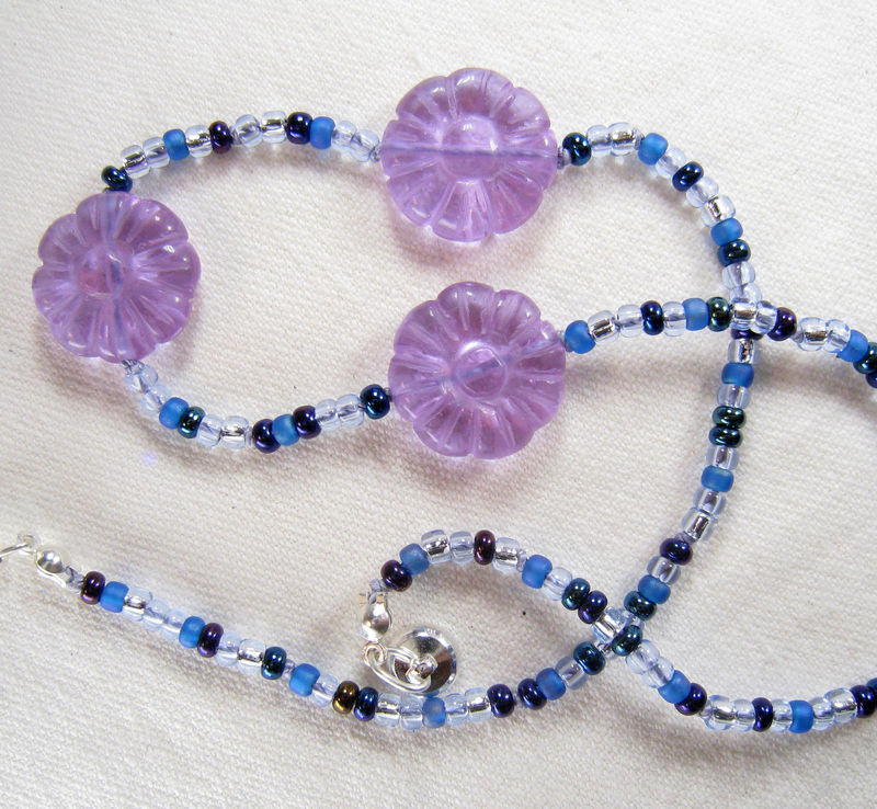 Girls Jewelry, Purple Carved Flowers Necklace, Blue Beads, Magnetic clasp - product images  of