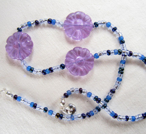 Girls,Jewelry,,Purple,Carved,Flowers,Necklace,,Blue,Beads,,Magnetic,clasp,Children,Jewelry,Necklace,little_girls,kids,grandchildren,flowers,magnetic_clasp,beaded,Holiday,Gift,birthday,tween,Lavender,Czech_glass_beads,silk_cord,lead_safe_magnetic_clasp,Argentium_silver_hardware,Carved_Glass_Flowers