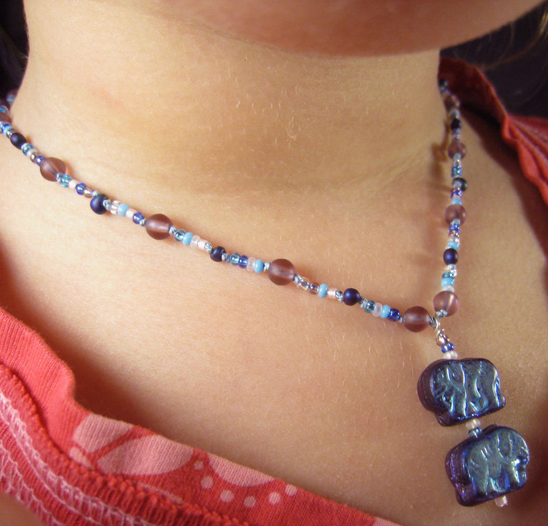Girls Jewelry, Purple Iridescent Elephants Necklace, Blue Beads, Magnetic clasp - product images  of