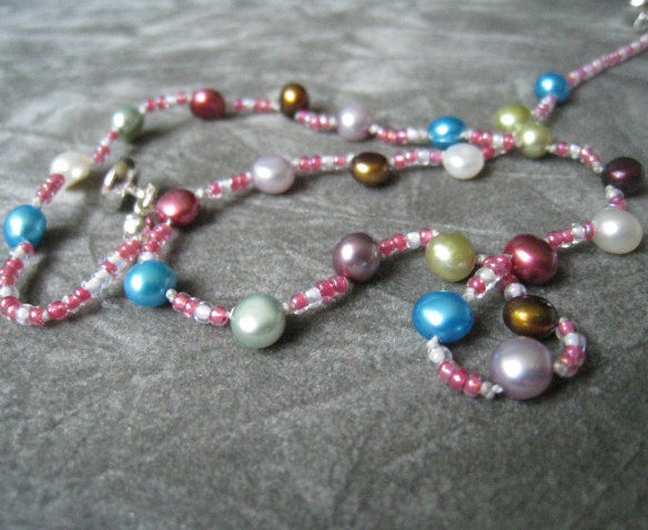 Girls Jewelry, Rainbow Freshwater Pearl Necklace, Magnetic Clasp - product images  of