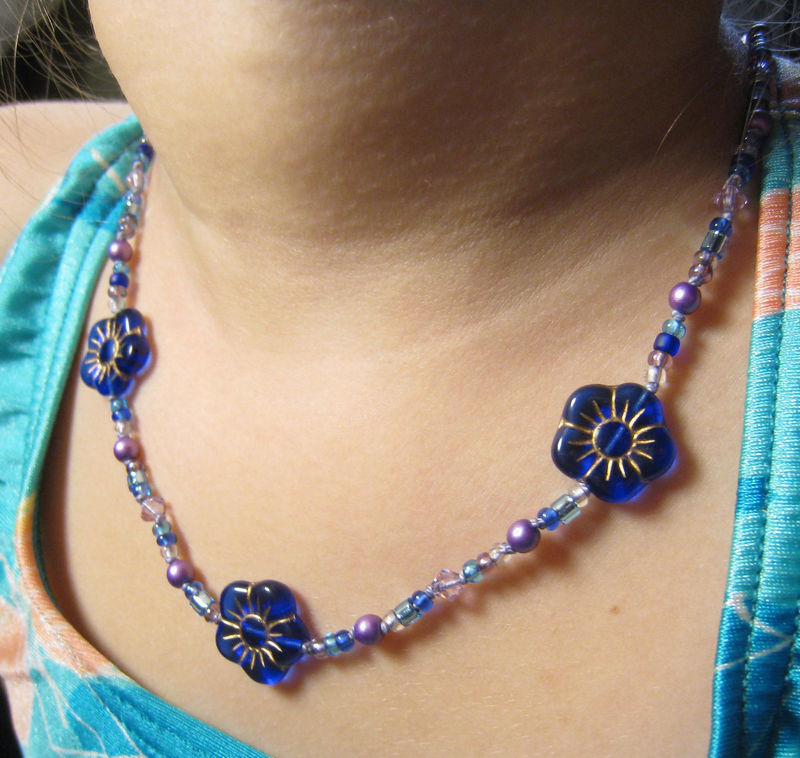 Little Girls Jewelry, Cobalt Blue Flowers Necklace, Swarovski Crystals, Magnetic Clasp - product images  of