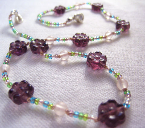 Girls,Jewelry,,Purple,Flowers,Necklace,,Pink,Beads,,Magnetic,clasp,,Children,,Kids,Children,Jewelry,Necklace,little_girls,kids,grandchildren,flowers,magnetic_clasp,beaded,Holiday,Gift,birthday,tween,Lavender,sparkle,Czech_glass_beads,silk_cord,lead_safe_magnetic_clasp,Argentium_silver_hardware,Carved_Glass_Flowers