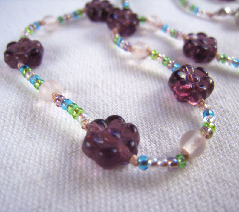 Girls Jewelry, Purple Flowers Necklace, Pink Beads, Magnetic clasp, Children, Kids - product images  of
