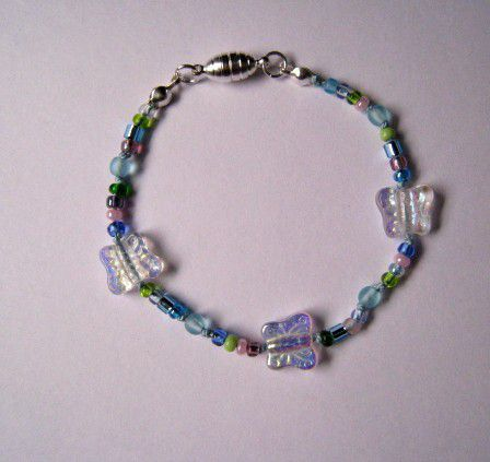 Girls Jewelry, Butterfly Bead Blue Bracelet - product images  of
