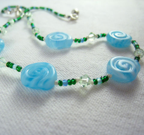 Little,Girls,Jewelry,,Blue,Swirl,Necklace,,Swarovski,Crystals,,Magnetic,clasp,,Children,Jewelry,Necklace,little_girl,birthday,holiday,magnetic_clasp,nature,beaded,kids,green,beach,Swarovski_crystals,sparkle,children,gift,Czech_Glass_beads,Japanese_glass_beads,silk_cord,lead_safe_magnetic_clasp,sterling_silver_hardware,swarovski_crys